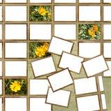 Manifesto di Grunge con i francobolli ed i fiori Immagini Stock
