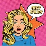 Manifesto di Hairstyle Salon Advertisement della giovane signora illustrazione vettoriale