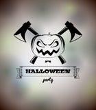 Manifesto di Halloween con la zucca e le asce Fotografia Stock