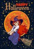 Manifesto di Halloween Giovane volo della strega del fumetto sul bastone della scopa sul fondo della luna piena Vettore illustrazione vettoriale