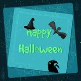 Manifesto di Halloween, insegna luminosa, cartolina d'auguri nello stile di lerciume Fotografia Stock Libera da Diritti