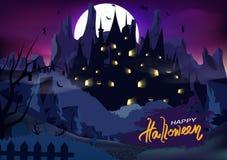Manifesto di Halloween, vettore astratto del fondo di lerciume di fantasia del palazzo del castello del fantasma della spazzola d illustrazione vettoriale