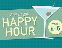 Manifesto di happy hour illustrazione vettoriale