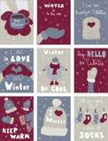 Manifesto di inverno Copre la cartolina Iscrizione di stagione Fotografia Stock