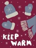 Manifesto di inverno Copre la cartolina Iscrizione di stagione Fotografie Stock Libere da Diritti