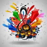 Manifesto di lerciume di musica con l'altoparlante Immagini Stock