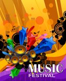 Manifesto di lerciume di musica con l'altoparlante e l'estratto Immagine Stock