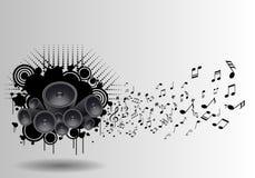 Manifesto di lerciume di musica con la volata delle note e dell'altoparlante Immagini Stock