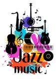 Manifesto di lerciume di musica di jazz con gli strumenti musicali royalty illustrazione gratis