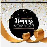 Manifesto di lusso del nuovo anno con i nastri dorati del partito dei coriandoli della scintilla e del lamé Illustrazione di vett fotografie stock libere da diritti