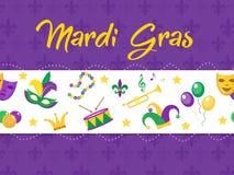 Manifesto di Mardi Gras con la maschera, perle, tromba, tamburo, giglio araldico, cappello del giullare, maschere Immagine Stock Libera da Diritti