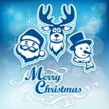Manifesto di Mary Christmas sul blu illustrazione vettoriale