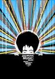 Manifesto di musica con l'uomo freddo con le cuffie Fotografie Stock Libere da Diritti