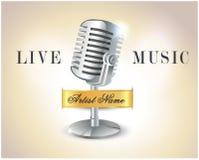 Manifesto di musica in diretta con il microfono - vettore eps10 illustrazione vettoriale