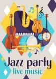 Manifesto di musica in diretta del partito di jazz retro con gli strumenti musicali illustrazione di stock