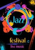 Manifesto di musica in diretta di festival di jazz retro con gli strumenti musicali royalty illustrazione gratis