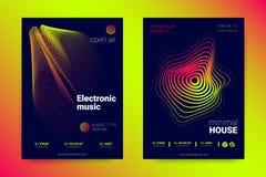 Manifesto di musica messo con le linee ed i giri ondulati illustrazione di stock