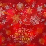 Manifesto di Natale - illustrazione Testo rosso- di Natale breve quadrato Fotografia Stock