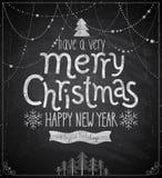 Manifesto di Natale - stile della lavagna Fotografia Stock