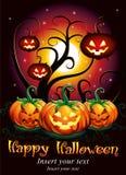 Manifesto di notte di Halloween con i punpkins Fotografia Stock Libera da Diritti