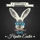 Manifesto di Pasqua dei pantaloni a vita bassa con il coniglietto. Immagine Stock