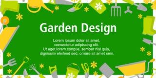 Manifesto di progettazione del giardino con gli strumenti di giardinaggio su fondo verde Fondo per le progettazioni differenti: c illustrazione vettoriale