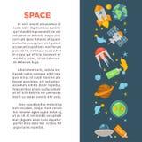 Manifesto di promo di esplorazione spaziale con le icone di tema dell'universo messe illustrazione vettoriale