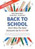 Manifesto di promozione di nuovo all'illustrazione di vettore della scuola Immagini Stock