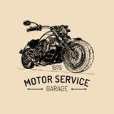 Manifesto di pubblicità del motociclo di vettore Illustrazione schizzata per il distintivo di MC Bike il logo per la società, il  Fotografia Stock