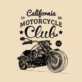 Manifesto di pubblicità del motociclo di vettore Illustrazione schizzata per il distintivo di MC Bike il logo per la società, il  Immagini Stock