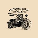 Manifesto di pubblicità del motociclo di vettore Illustrazione schizzata per il distintivo di MC Bike il logo per la società, il  Fotografia Stock Libera da Diritti