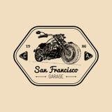 Manifesto di pubblicità del motociclo di vettore Illustrazione schizzata per il distintivo di MC Bike il logo per la società, il  Fotografie Stock Libere da Diritti