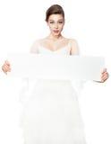 Manifesto di pubblicità della tenuta della sposa. Immagini Stock Libere da Diritti