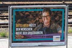 Manifesto di pubblicità di Oikocredit immagini stock libere da diritti