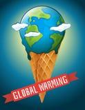 Manifesto di riscaldamento globale con terra di fusione Fotografia Stock Libera da Diritti