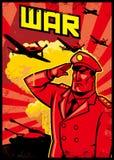Manifesto di saluto del soldato con il fondo dell'aereo di guerra Fotografie Stock Libere da Diritti