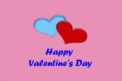 Manifesto di San Valentino con due cuori immagini stock