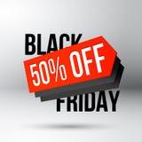 Manifesto di sconto di Black Friday con l'etichetta di prezzo di vendita Fotografia Stock Libera da Diritti
