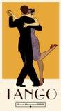 manifesto di tango degli anni 20 Tango elegante di dancing delle coppie illustrazione vettoriale