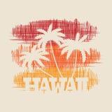 Manifesto di tipografia delle Hawai Concetto nello stile d'annata per la stampa Immagini Stock