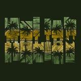 Manifesto di tipografia di Malibu Concetto nello stile d'annata per la stampa Immagine Stock