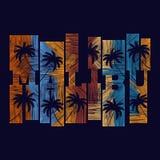 Manifesto di tipografia di Malibu Concetto nello stile d'annata per la stampa Fotografia Stock Libera da Diritti