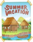 Manifesto di vacanze estive con le case dal fiume Fotografia Stock Libera da Diritti