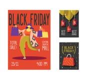 Manifesto di vendita di Black Friday, aletta di filatoio, cartello Opuscolo di evento di promozione di festa del negozio con la d Illustrazione di Stock