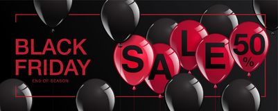 Manifesto di vendita di Black Friday con i palloni brillanti su fondo nero Fotografia Stock Libera da Diritti