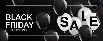 Manifesto di vendita di Black Friday con i palloni brillanti su fondo nero Immagine Stock