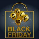 Manifesto di vendita di Black Friday con i palloni brillanti su fondo nero Fotografia Stock