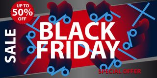 Manifesto di vendita di Black Friday Fondo di shopping di festa Immagini Stock
