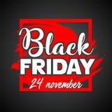 Manifesto di vendita di Black Friday Modello di progettazione dell'iscrizione di Black Friday Fotografie Stock