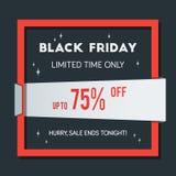 Manifesto di vendita di Black Friday su fondo brillante nero con Squa rosso Fotografie Stock Libere da Diritti